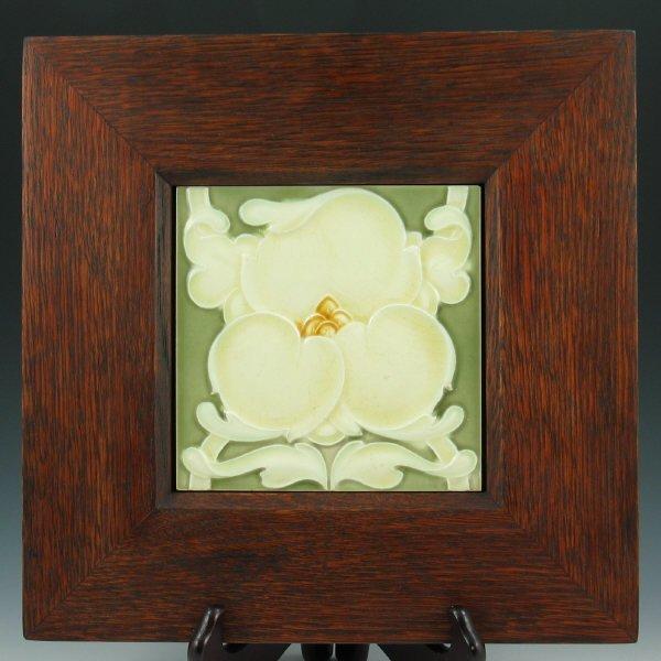 "502: Art Nouveau 6"" Tile in Mission Oak Frame"