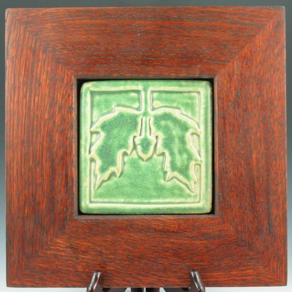 503: Arts & Crafts Acorn & Oak Tile in Mission Frame