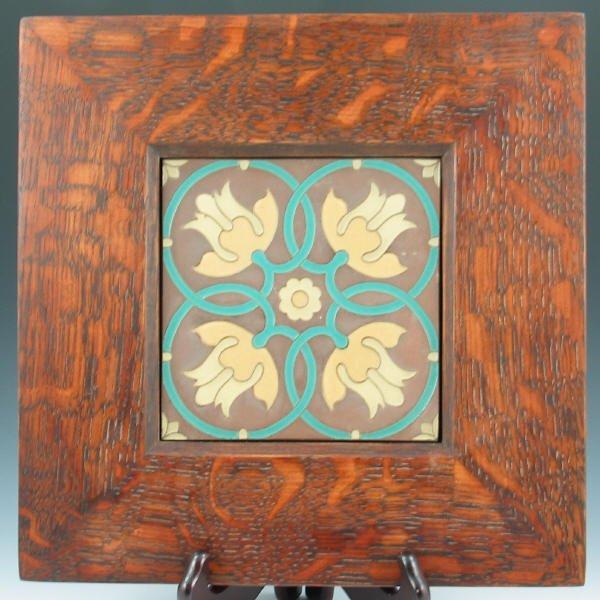 """505: Van Briggle 6"""" Tile in Mission Oak Frame"""
