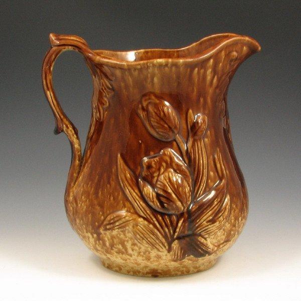 507: Excellent Brown Glaze Yellow Ware Pitcher