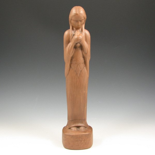 514: Frankoma Matte Brown Indian Woman Statue - Mint