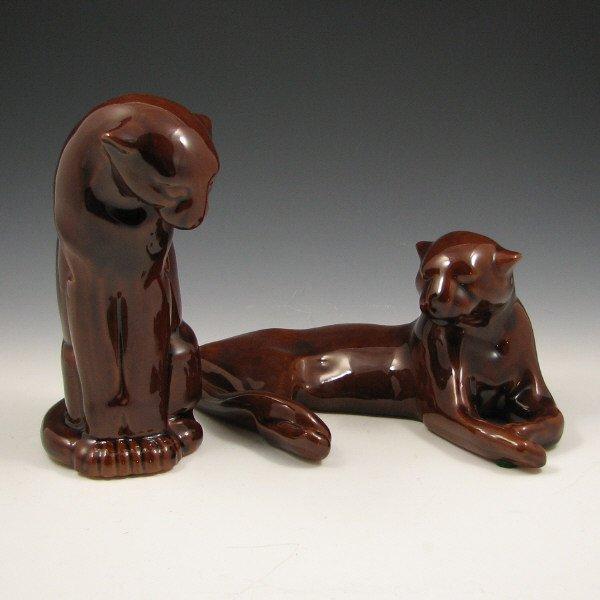 516: Frankoma Pottery Brown Gloss Pumas (Two) - Mint