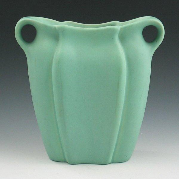 524: Muncie Handled Matte Green Pillow Vase - Mint