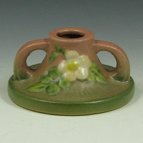 """5: Roseville White Rose 1141-2"""" Candleholder - Mint"""