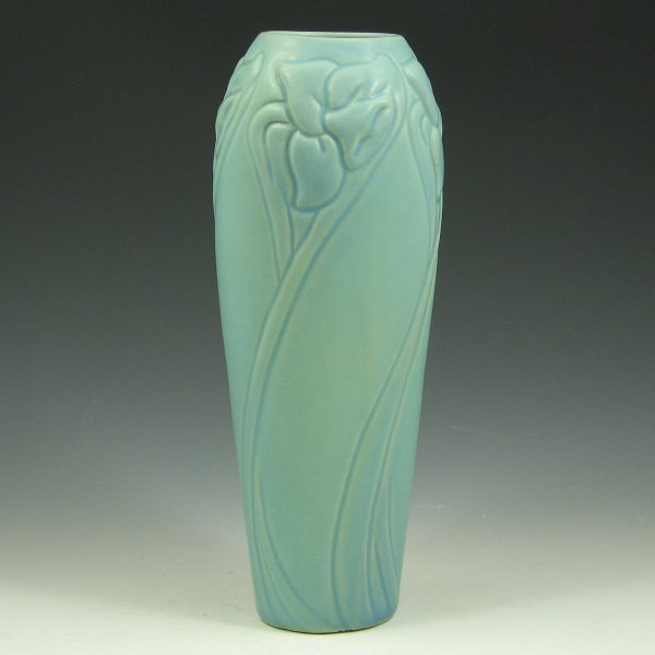 "8: Van Briggle 9"" Floral Vase - Mint"