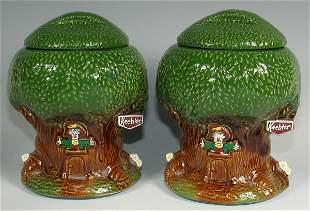 McCoy Keebler Tree House Cookie Jars (2) - Mint