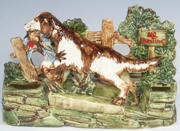 "13: McCoy Pottery ""No Hunting"" Planter w/ Dog - Mint"