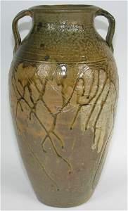 """150: Incised & Glazed 17 5/8"""" Handled Floor Vase - Mint"""