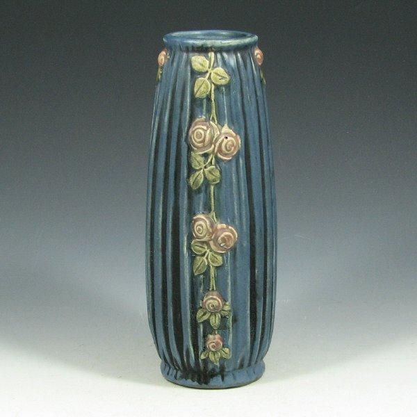 """5018: Weller Blue Drapery 8"""" Vase - Mint"""
