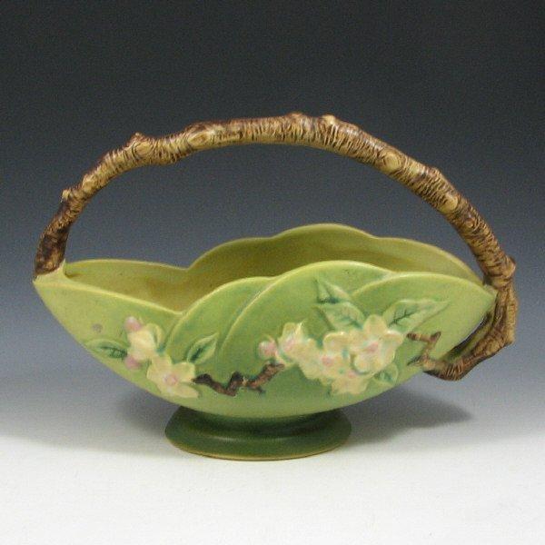 """5020: Roseville Apple Blossom 310-10"""" Basket - Mint"""