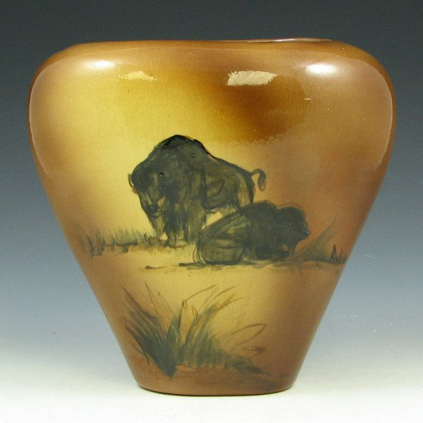 500: Rick Wisecarver Pillow Vase w/ Buffalo - Mint