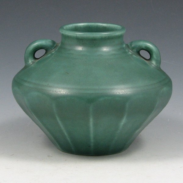 207: Rookwood 1929 Matte Green Handled Vase - Mint
