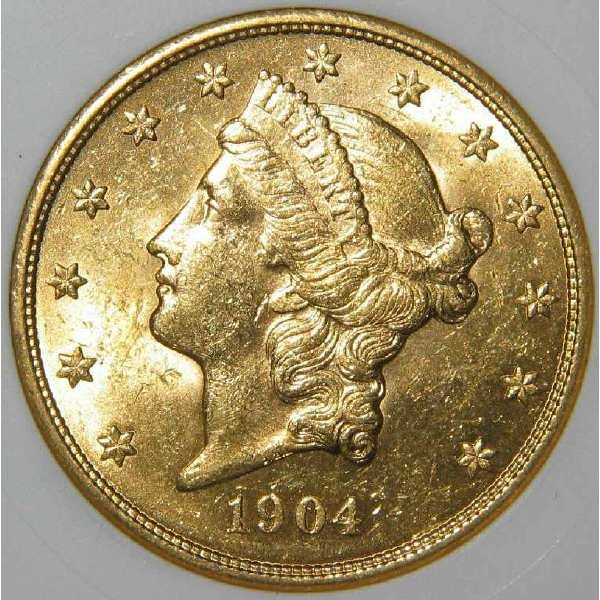 515: 1904 $20 Liberty Head Gold Coin ANACS MS 61