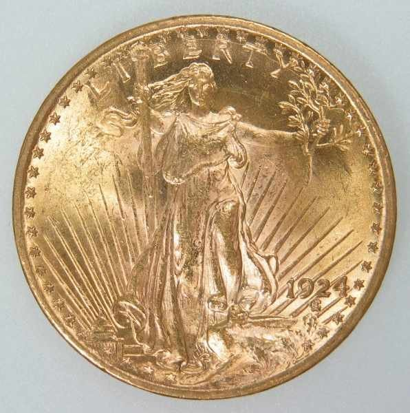 517: 1924 St. Gaudens $20 Gold Coin ANACS MS 63