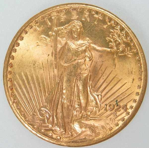518: 1924 St. Gaudens $20 Gold Coin ANACS MS 63