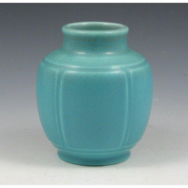 1012: Rookwood 1929 Matte Brown Over Blue Vase - Mint