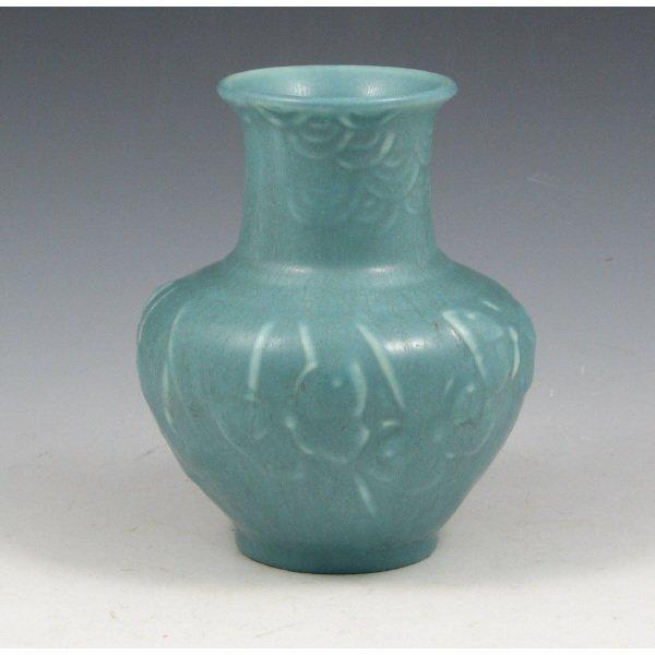 1014: Rookwood 1944 Butterfly Matte Blue Vase - Mint