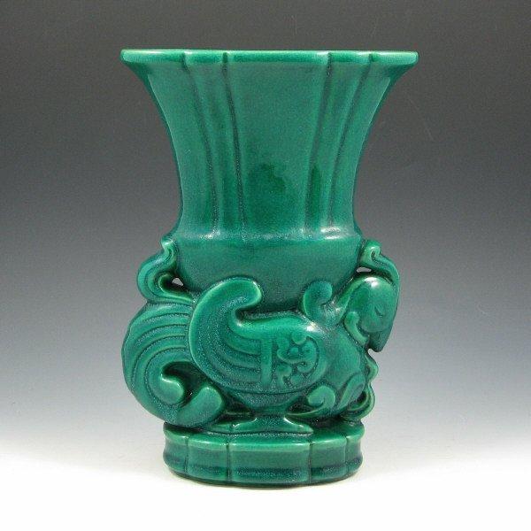 1015: Cowan Chinese Dragon Vase in Melon Green