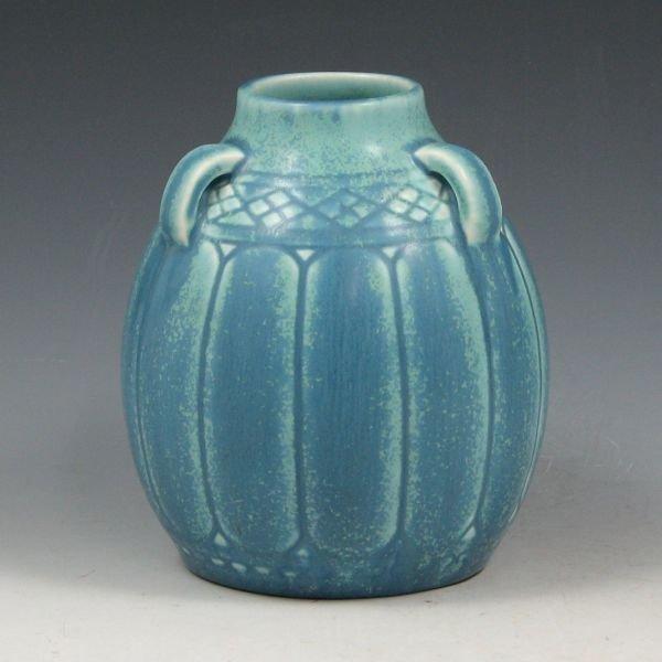 14: Rookwood 1929 Matte Blue Handled Vase - Mint