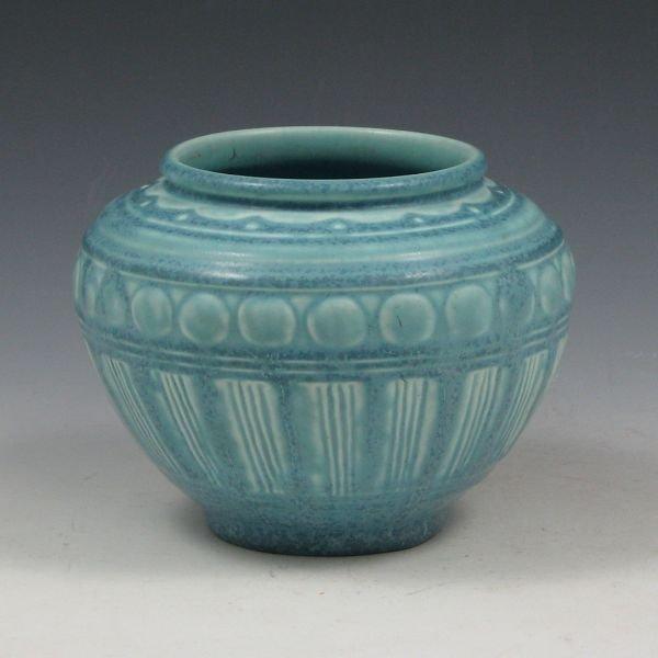 24: Rookwood 1934 Matte Blue Low Vase - Mint
