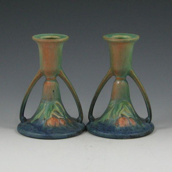 """228: Roseville Baneda 1087-5"""" Candleholders - Mint"""