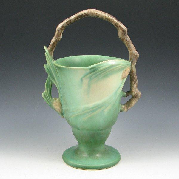 "1007: Roseville Pine Cone 353-11"" Basket - Mint"