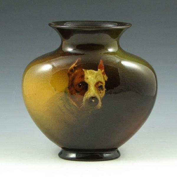1024: Weller Louwelsa Dog Portrait Vase by L. Blake