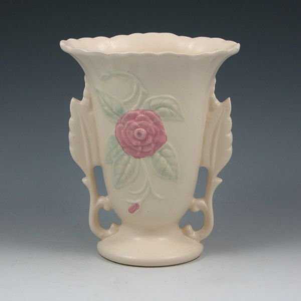 "4: Hull Open Rose Camellia 138-6 1/4"" Vase - Mint"