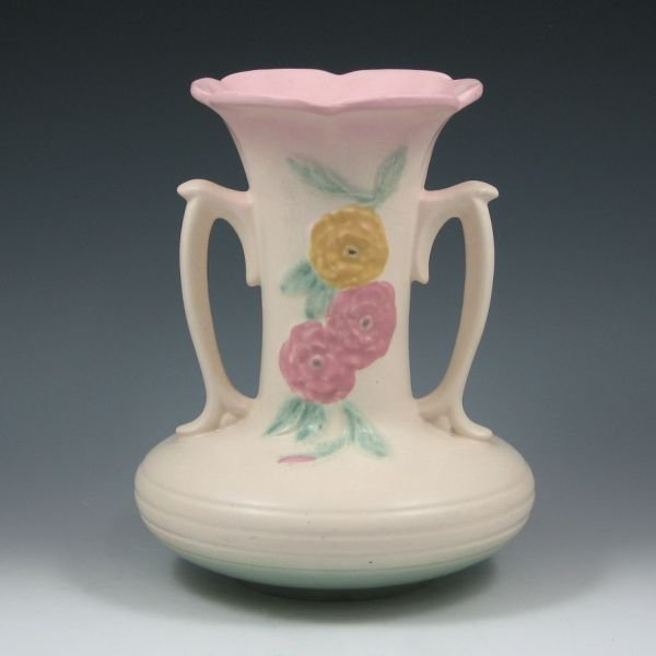 "11: Hull Open Rose Camellia 102-8 1/2"" Vase - Mint"
