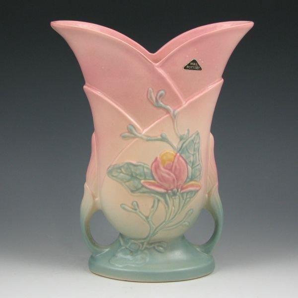 "18: Hull Magnolia Matte 9-10 1/2"" Vase w/ Label"