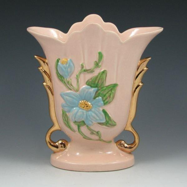 "19: Hull Magnolia Gloss H-8-8 1/2"" Vase w/ Gold"