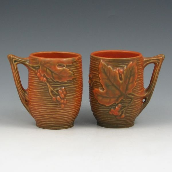 "1523: Roseville Bushberry 1-3 1/2"" Mugs or Cups (Two)"