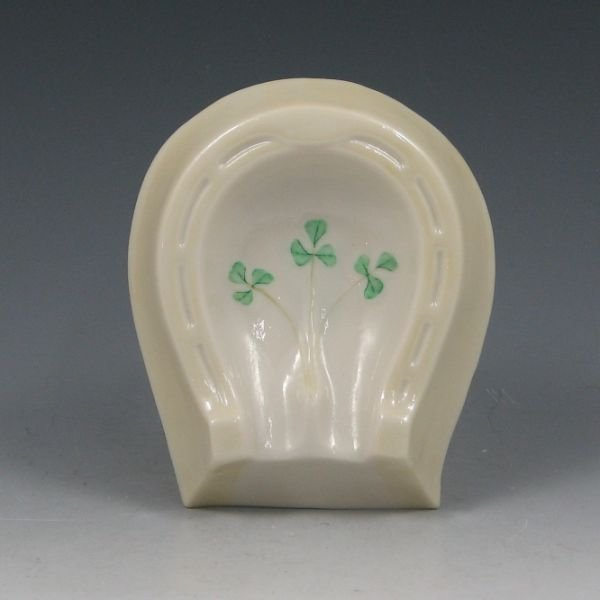 10: Belleek Horseshoe Ashtray w/ Shamrocks - 5th Green