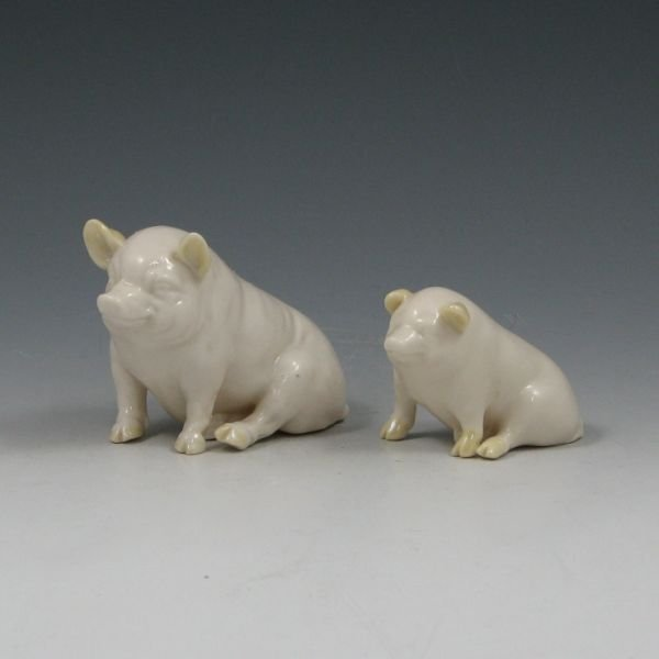 13: Belleek Pig Figurines w/ Cob Lustre - 3rd & 6th