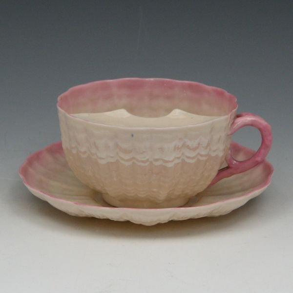 16: Belleek Tridacna Mustache Cup & Saucer - 2nd Black