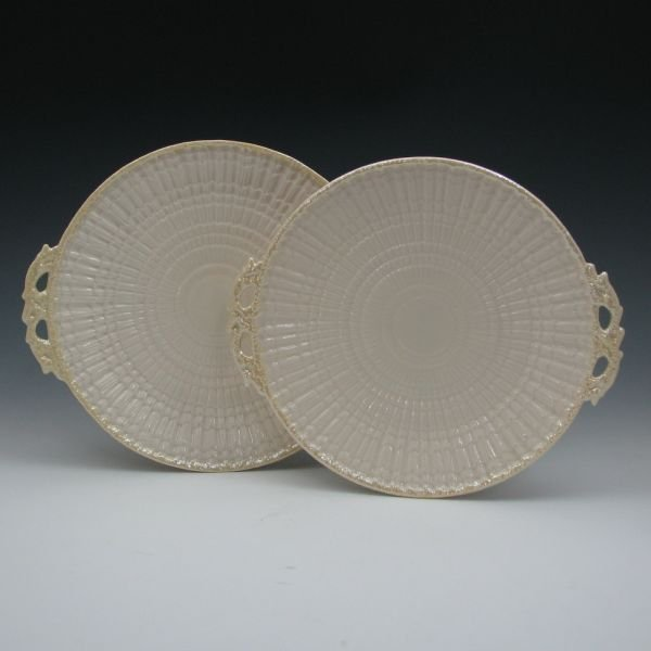 21: Belleek Limpet Handled Bread Plates - 4th Green