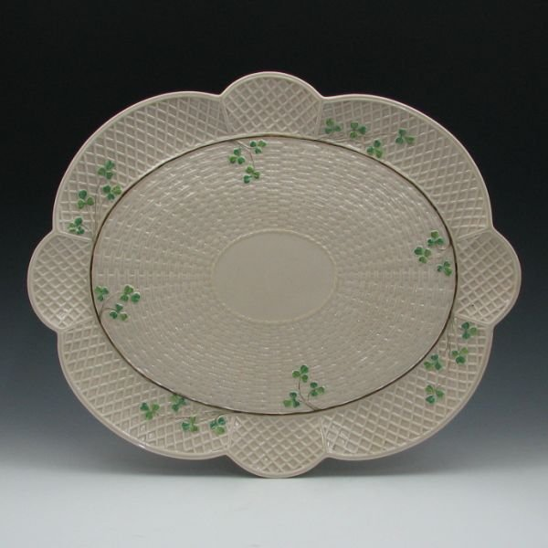 "56: Belleek Shamrock 18"" by 15"" Tray - 2nd Black"