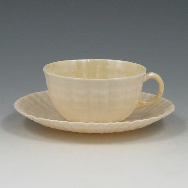 1300Y: Belleek Tridacna Tea Cup & Saucer - 5th Green