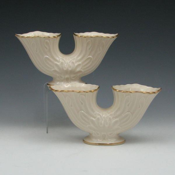 1303: Lenox Double Cornucopia Vases (Two) - Mint