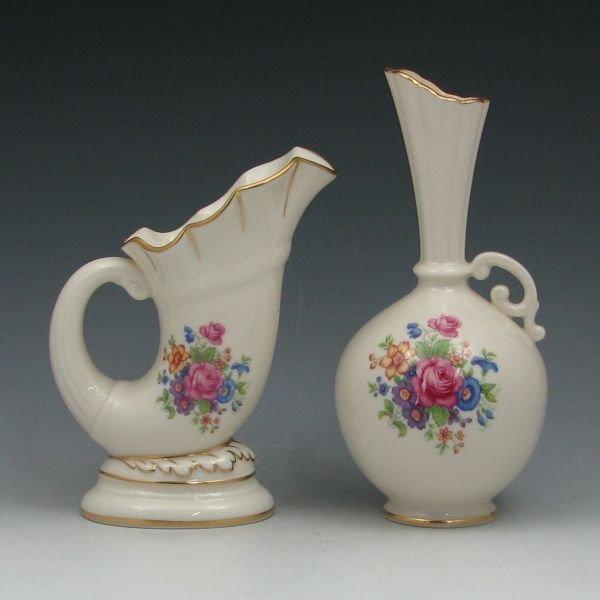 1308: Lenox Rose Pattern Vase & Cornucopia - Mint