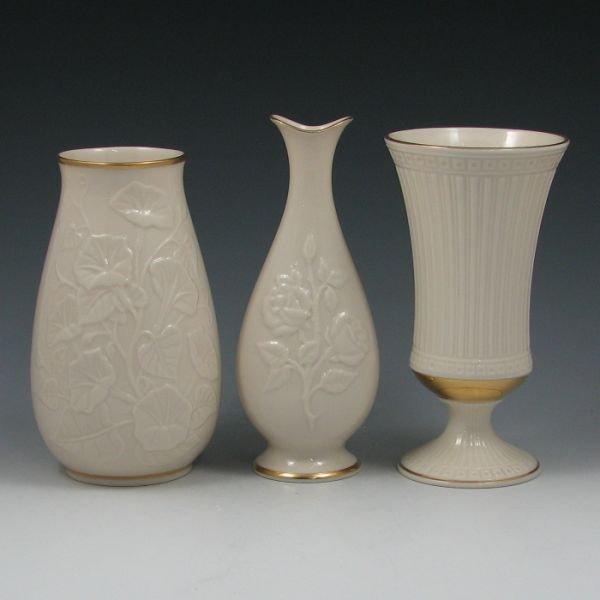 1330: Lenox Vases (Three) w/ Gold Trim - Mint