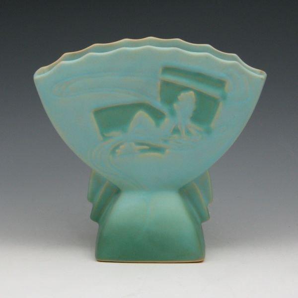 """1596: Roseville Silhouette 783-7"""" Nude Fan Vase - Mint"""