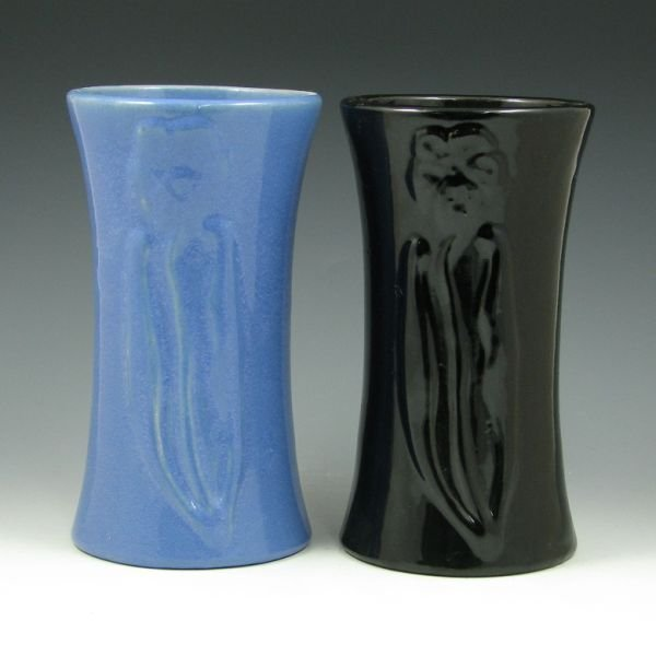 "2101: Zanesville Stoneware 8 1/2"" Floral Vases (2)"