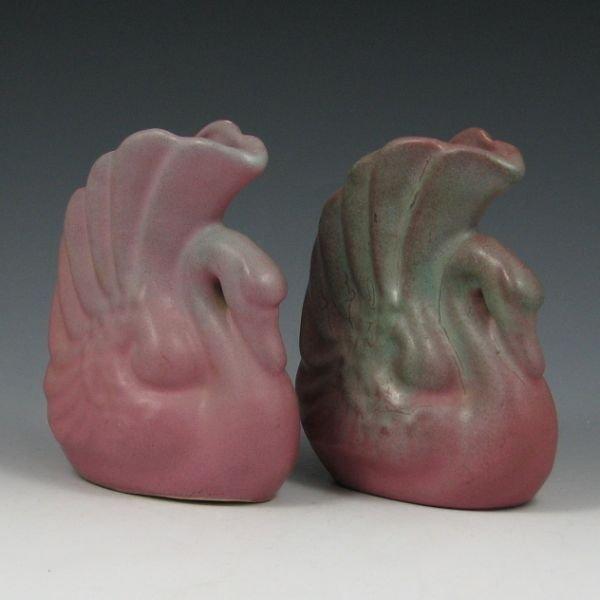 2104: Niloak Ozark Dawn Swan Vases (2)