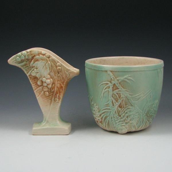 2110: McCoy Rustic Jardiniere & Vase - Excellent