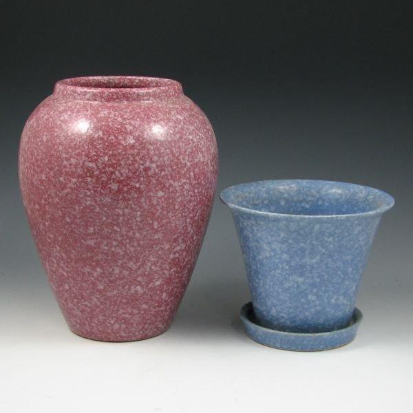 """2112: Brush 10"""" Vase & 5 5/8"""" Flower Pot"""