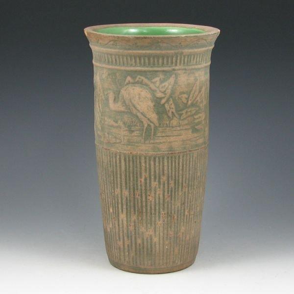 """2121: Red Wing Brushware 10 1/4"""" Crane Vase"""