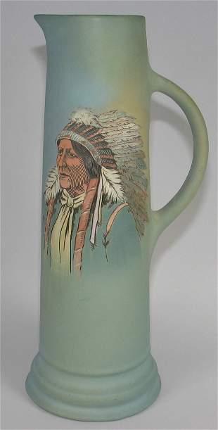 "Weller Dickensware 16"" Tankard w/ Indian Portrait"