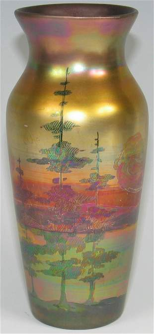 "Weller LaSa 8 1/2"" Vase w/ Wooded Lake Scene"