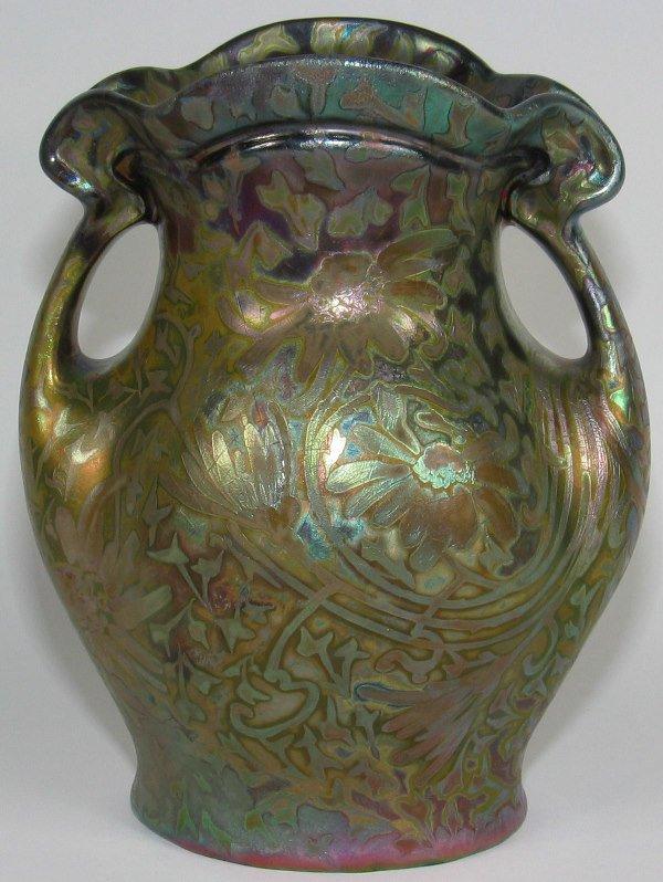"10: Weller Sicard 9"" Double Handled Vase - Mint"